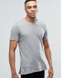 Удлиненная футболка с молниями Jack & Jones - Светло-серый меланж