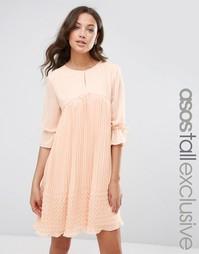 Свободное платье с плиссировкой ASOS TALL - Телесный