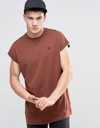 Красно-бурая oversize-футболка без рукавов с логотипом ASOS