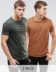 2 футболки с круглым вырезом (хаки/красно-бурый) ASOS - СКИДКА 17%