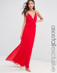 Платье макси с плиссированной юбкой и оборками на лифе ASOS TALL