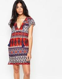 Цельнокройное платье с принтом пейсли в полоску Diya - Мульти