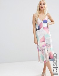 Платье на бретельках с абстрактным принтом ASOS TALL - Мульти