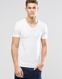 Облегающая футболка стретч с V‑образным вырезом ASOS - Белый