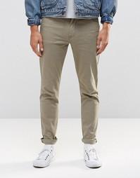 Зауженные светлые брюки цвета хаки с 5 карманами ASOS - Хаки