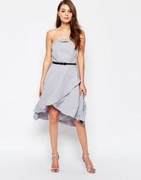 Платье-бандо с отделкой Little Mistress - Серый
