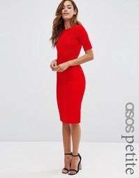Структурированное облегающее платье в рубчик со швами ASOS PETITE