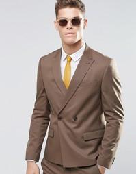 Коричневый двубортный пиджак узкого кроя ASOS - Коричневый
