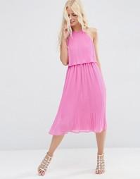 Двухслойное плиссированное платье миди ASOS - Розовый