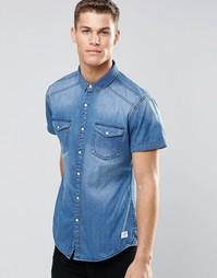 Выбеленная джинсовая рубашка с короткими рукавами Esprit