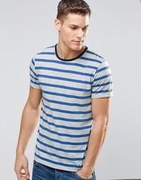 Полосатая футболка с контрастной горловиной Esprit - Серый