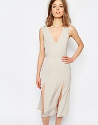 Платье с глубоким вырезом Neon Rose - Stone