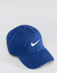 Синяя кепка с логотипом в виде галочки Nike 546126-455 - Синий
