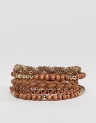 Набор коричневых и золотистых браслетов ASOS - Коричневый