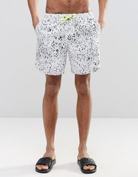 ASOS Swim Shorts With Splatter Print And Neon Drawcord In Mid Length