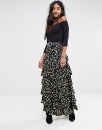 Ярусная юбка макси с цветочным принтом в винтажном стиле Glamorous