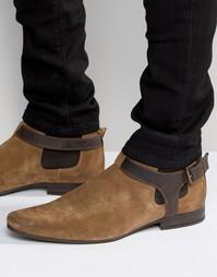 Песочные замшевые ботинки челси с кожаным ремешком ASOS - Stone