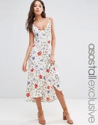 Платье миди из жатого хлопка с цветочным принтом ASOS TALL - Белый