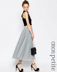 Многослойная тюлевая юбка миди ASOS PETITE - Серый
