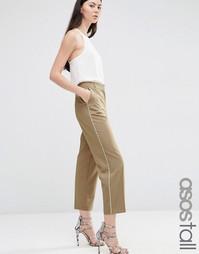 Зауженные брюки с контрастной окантовкой ASOS TALL - Песок