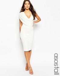 Креповое платье миди на одно плечо с драпировкой ASOS TALL - Белый