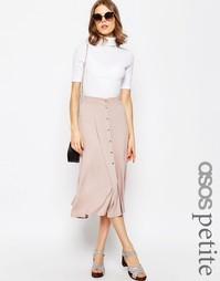 Расклешенная юбка миди с кнопками ASOS PETITE - Телесный
