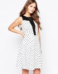 Платье с горошек с расклешенной юбкой и контрастной вставкой Closet