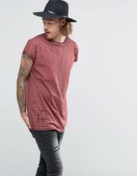 Oversize-футболка без рукавов с рваной отделкой ASOS - Chestnut