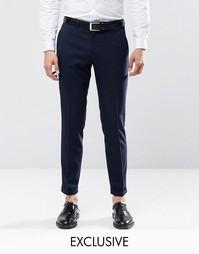 Стретчевые суперзауженные брюки с отворотами Only & Sons - Темно-синий