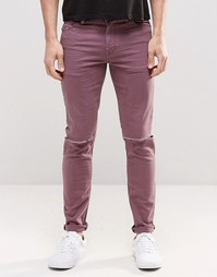 Фиолетовые облегающие джинсы с рваными коленями ASOS - Фиолетовый