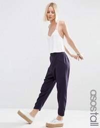 Льняные брюки галифе с накладными карманами ASOS TALL - Темно-синий