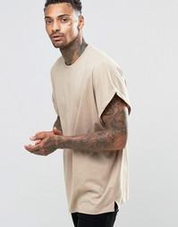 Бежевая oversize-футболка с закатанными рукавами ASOS - Blonde