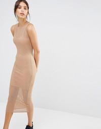 Сетчатое двухслойное платье миди Missguided - Кэмел