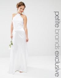 Платье макси с халтером и кружевным лифом John Zack Petite - Белый