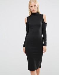 Облегающее платье с вырезами на плечах и молнией Club L - Черный