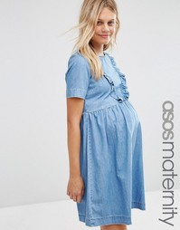 ASOS Maternity Denim Smock Dress With Ruffle Hem - Синий