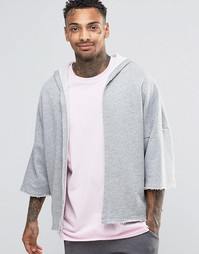 ASOS Hooded Jersey Kimono With Raw Edges - Серый меланж