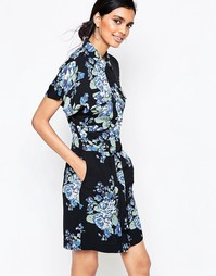 Платье-рубашка с синим цветочным принтом Ganni - Синий цветок