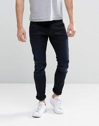 Темные потертые зауженные джинсы с молниями на коленках G-Star Elwood