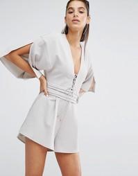 Комбинезон со шнуровкой и рукавами-кимоно Parallel Lines - Серый