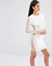 Облегающее платье с решетчатой вставкой по бокам Missguided Premium