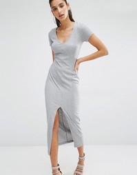 Платье-футболка макси в рубчик с V-образным вырезом Parallel Lines