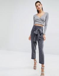 Суженные книзу брюки с завязкой спереди Parallel Lines - Серый