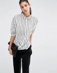 Рубашка в полоску с запахом спереди Parallel Lines - Белый