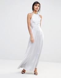 Атласное платье макси Vero Moda - Серебряный