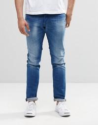 Выбеленные джинсы скинни с контрастным поясом Diesel Tepphar 855G