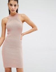 Трикотажное платье мини Parallel Lines - Пыльно-розовый