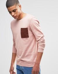 Хлопковый джемпер с накладным карманом ASOS - Розовый