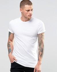 Белая облегающая футболка с отворотами на рукавах ASOS - Белый