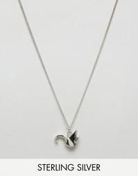 Серебряное ожерелье с подвеской в виде журавля оригами Fashionology